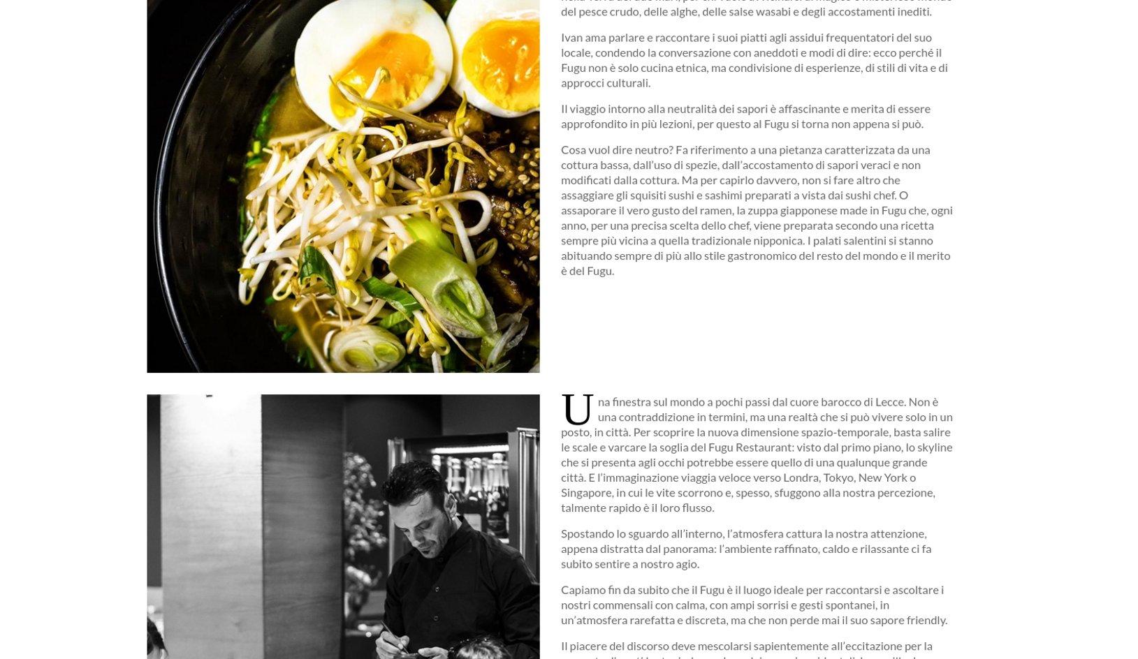 Sito internet Fugu Restaurant Lecce